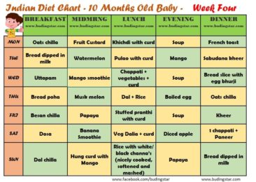 10 month baby food chart