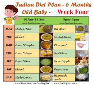 What should be the diet plan for 6 month old healthy baby?