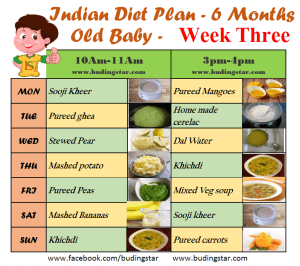 What is the diet plan for 6th month old baby boy.
