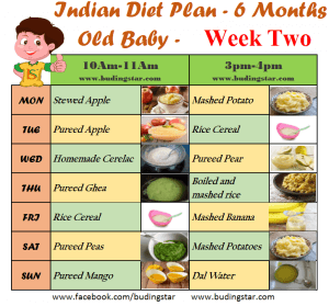 Indian food chart for 6 months baby being happy mom.